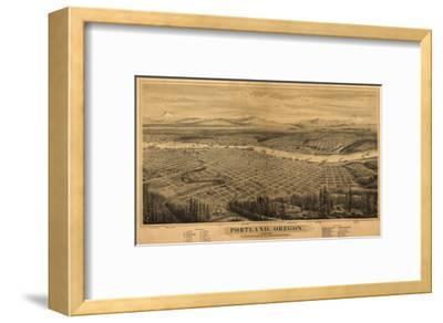 Oregon - Map of Portland-Lantern Press-Framed Art Print