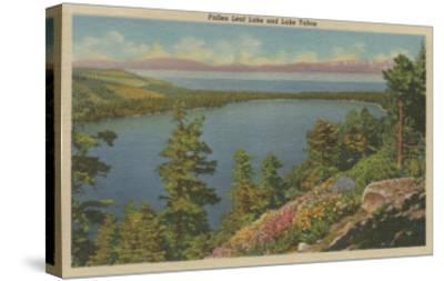 Lake Tahoe, CA - Fallen Leaf Lake and Lake Tahoe-Lantern Press-Stretched Canvas Print