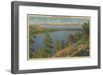 Lake Tahoe, CA - Fallen Leaf Lake and Lake Tahoe-Lantern Press-Framed Art Print