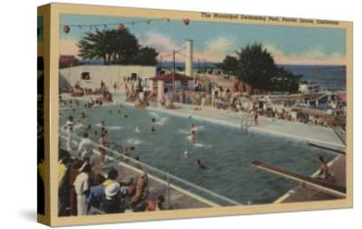 Pacific Grove, CA - Municipal Swimming Pool View-Lantern Press-Stretched Canvas Print