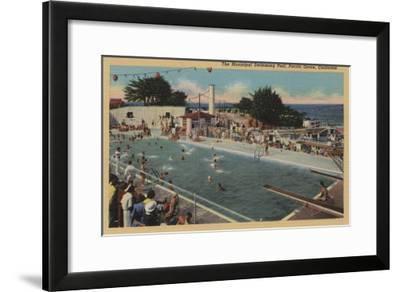 Pacific Grove, CA - Municipal Swimming Pool View-Lantern Press-Framed Art Print