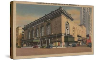 New York, NY - Brooklyn Academy of Music, Lafayette Ave.-Lantern Press-Stretched Canvas Print