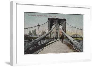 New York, NY - Brooklyn Bridge View, The Cables-Lantern Press-Framed Art Print