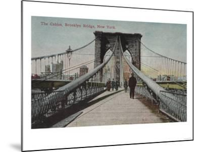 New York, NY - Brooklyn Bridge View, The Cables-Lantern Press-Mounted Art Print