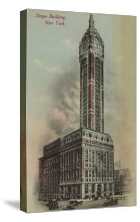 New York, NY - Singer Building, Broadway and Liberty St. No.1-Lantern Press-Stretched Canvas Print