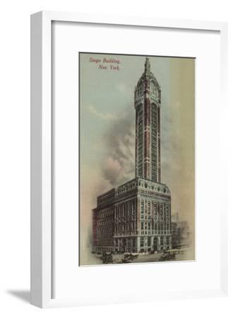 New York, NY - Singer Building, Broadway and Liberty St. No.1-Lantern Press-Framed Art Print