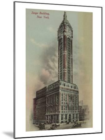 New York, NY - Singer Building, Broadway and Liberty St. No.1-Lantern Press-Mounted Art Print