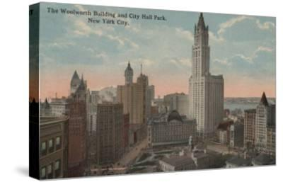 New York, NY - Woolworth Building and City Hall Park-Lantern Press-Stretched Canvas Print