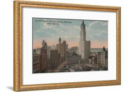 New York, NY - Woolworth Building and City Hall Park-Lantern Press-Framed Art Print