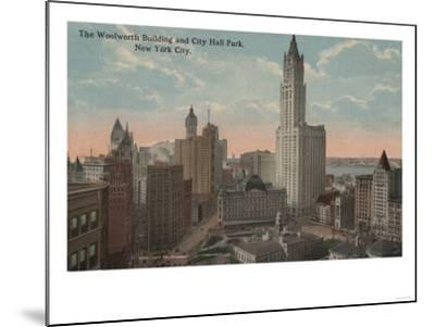 New York, NY - Woolworth Building and City Hall Park-Lantern Press-Mounted Art Print