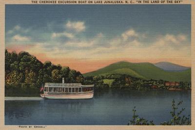 Lake Junaluska, NC - View of Cherokee Boat-Lantern Press-Stretched Canvas Print