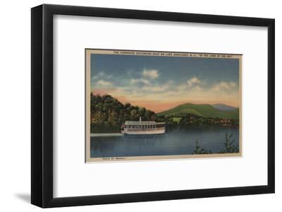 Lake Junaluska, NC - View of Cherokee Boat-Lantern Press-Framed Art Print