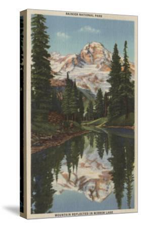 Mt. Rainier, WA - Mirror Lake with Mt. Reflection-Lantern Press-Stretched Canvas Print