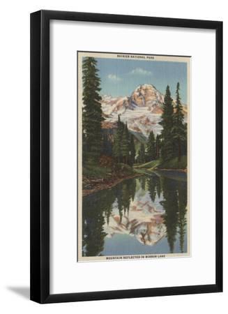 Mt. Rainier, WA - Mirror Lake with Mt. Reflection-Lantern Press-Framed Art Print