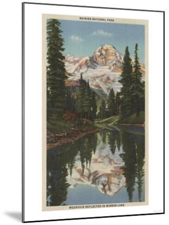 Mt. Rainier, WA - Mirror Lake with Mt. Reflection-Lantern Press-Mounted Art Print