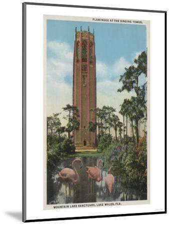 Lake Wales, FL - View of Singing Tower & Flamingos-Lantern Press-Mounted Art Print