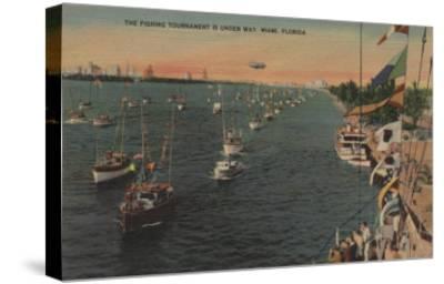 Miami, Florida - View of Fishing Tournament & Boats-Lantern Press-Stretched Canvas Print