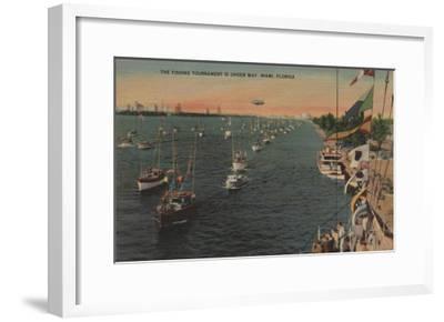 Miami, Florida - View of Fishing Tournament & Boats-Lantern Press-Framed Art Print