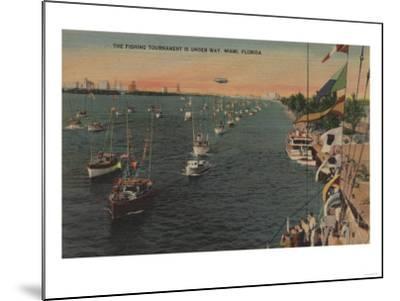 Miami, Florida - View of Fishing Tournament & Boats-Lantern Press-Mounted Art Print