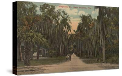 New Smyrna, Florida - View of Magnolia St. with Trees-Lantern Press-Stretched Canvas Print