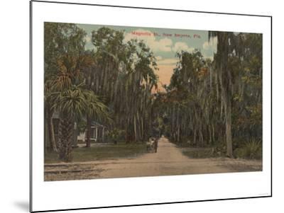 New Smyrna, Florida - View of Magnolia St. with Trees-Lantern Press-Mounted Art Print