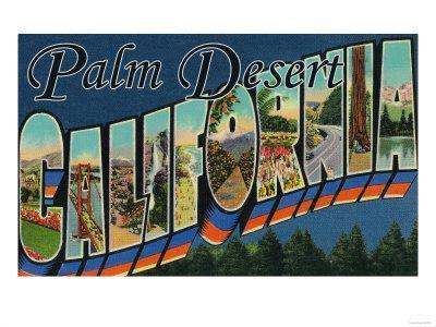 Palm Desert, California - Large Letter Scenes-Lantern Press-Framed Art Print