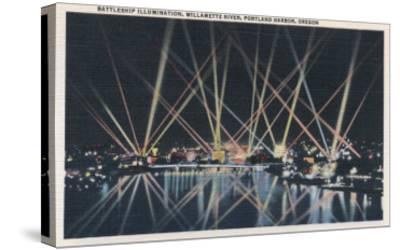 Portland, OR - Battleship Illumination, Willamette River-Lantern Press-Stretched Canvas Print