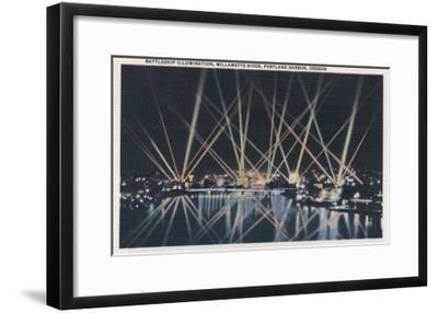 Portland, OR - Battleship Illumination, Willamette River-Lantern Press-Framed Art Print