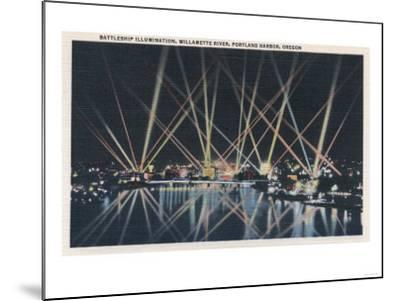 Portland, OR - Battleship Illumination, Willamette River-Lantern Press-Mounted Art Print