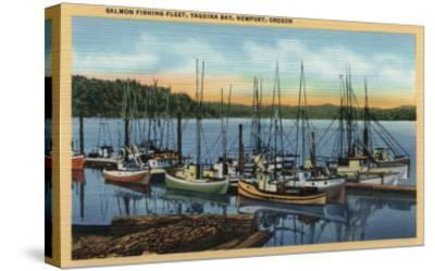 Newport, Oregon - Salmon Fishing Fleet in Yaquina Bay-Lantern Press-Stretched Canvas Print