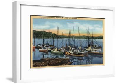 Newport, Oregon - Salmon Fishing Fleet in Yaquina Bay-Lantern Press-Framed Art Print