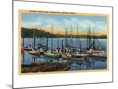 Newport, Oregon - Salmon Fishing Fleet in Yaquina Bay-Lantern Press-Mounted Art Print