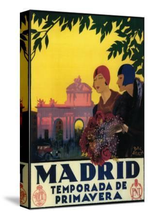 Madrid, Spain - Madrid in Springtime Travel Promotional Poster-Lantern Press-Stretched Canvas Print