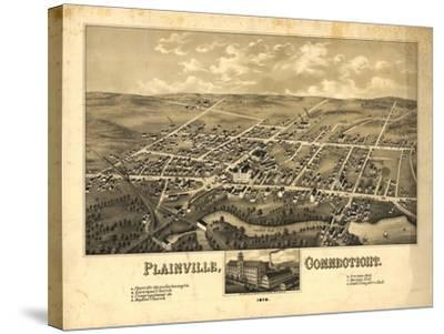 Plainville, Connecticut - Panoramic Map-Lantern Press-Stretched Canvas Print