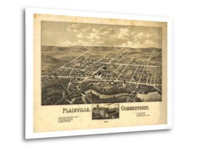 Plainville, Connecticut - Panoramic Map-Lantern Press-Metal Print