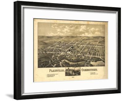Plainville, Connecticut - Panoramic Map-Lantern Press-Framed Art Print