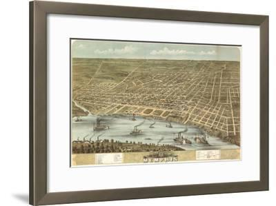 Memphis, Tennessee - Panoramic Map-Lantern Press-Framed Art Print