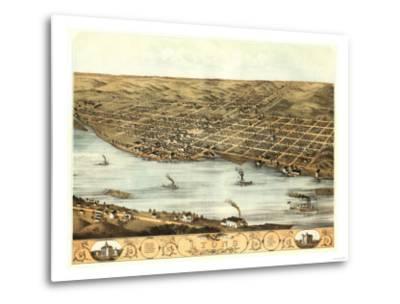 Lyons, Iowa - Panoramic Map-Lantern Press-Metal Print