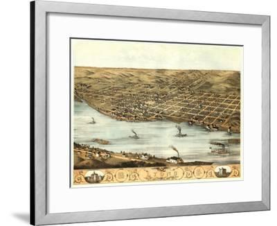 Lyons, Iowa - Panoramic Map-Lantern Press-Framed Art Print