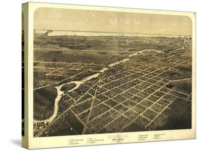 Monroe, Michigan - Panoramic Map-Lantern Press-Stretched Canvas Print