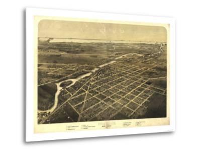 Monroe, Michigan - Panoramic Map-Lantern Press-Metal Print