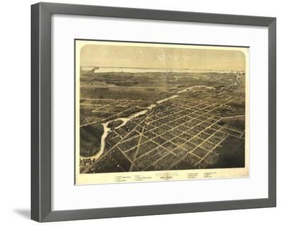 Monroe, Michigan - Panoramic Map-Lantern Press-Framed Art Print