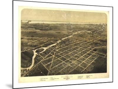 Monroe, Michigan - Panoramic Map-Lantern Press-Mounted Art Print