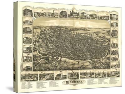 Richmond, Indiana - Panoramic Map-Lantern Press-Stretched Canvas Print