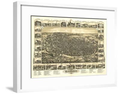Richmond, Indiana - Panoramic Map-Lantern Press-Framed Art Print