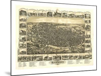 Richmond, Indiana - Panoramic Map-Lantern Press-Mounted Art Print