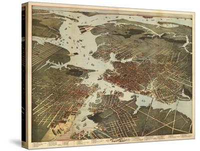Norfolk, Virginia - Panoramic Map-Lantern Press-Stretched Canvas Print