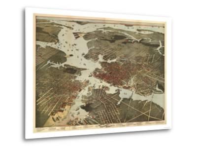Norfolk, Virginia - Panoramic Map-Lantern Press-Metal Print