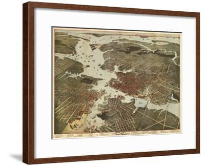 Norfolk, Virginia - Panoramic Map-Lantern Press-Framed Art Print