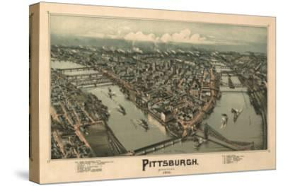 Pittsburgh, Pennsylvania - Panoramic Map-Lantern Press-Stretched Canvas Print